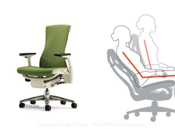 Embody silla ergon mica de escritorio que se adapta a la for Silla escritorio ergonomica