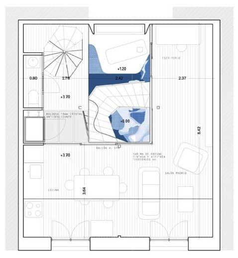 Baño Bajo Escalera Plano:Rota House: casa entre medianeras con Piscina Climatizada