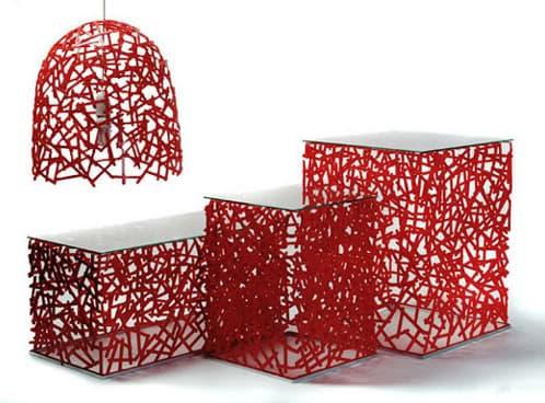 Muebles hechos reutilizando cucharillas de pl stico for Muebles con material reciclado