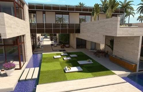 Casa de lujo en miami con piscina estanques y cascada de - Jardines de casas de lujo ...
