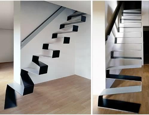 Escalera minimalista en chapa de 10mm plegada en zig zag for Imagenes de arquitectura minimalista