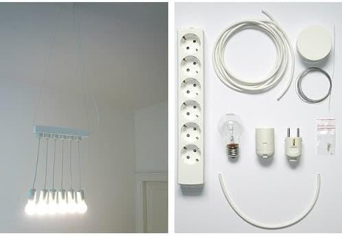 lámpara colgante hecha con base de enchufes