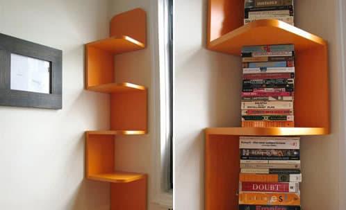 libreria de madera para los rincones