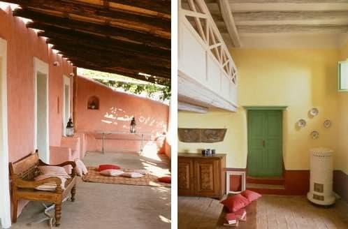 fachada y paredes pintadas en distintos colores
