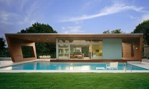 moderno cobertizo para piscina