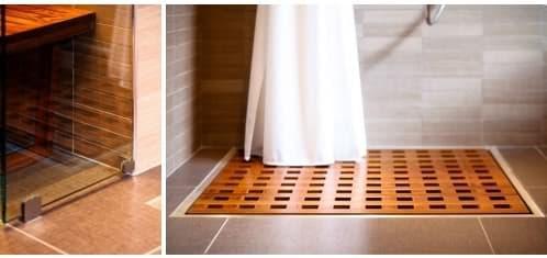 detalle piso de madera para la ducha