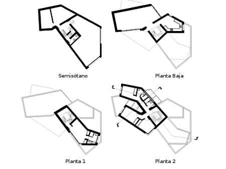 planos de los diferentes niveles de la casa