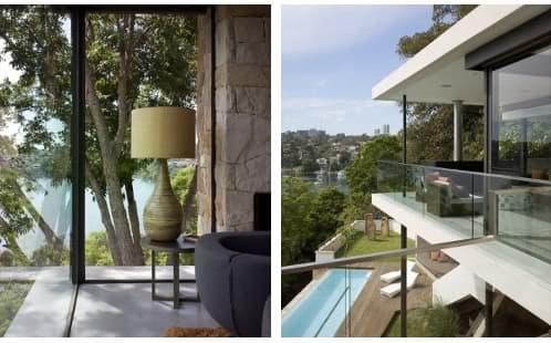 detalle salón con muro de piedra y terraza con chimenea