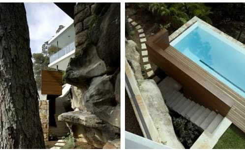 jardin con desniveles y piscina desbordante alargada