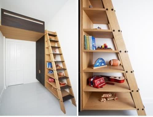 Mueble con cama arriba para habitaci n ni os for Camas en alto juveniles