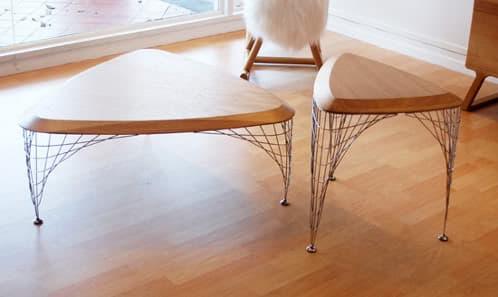 mesa-grid_table de madera y patas en malla de alambre