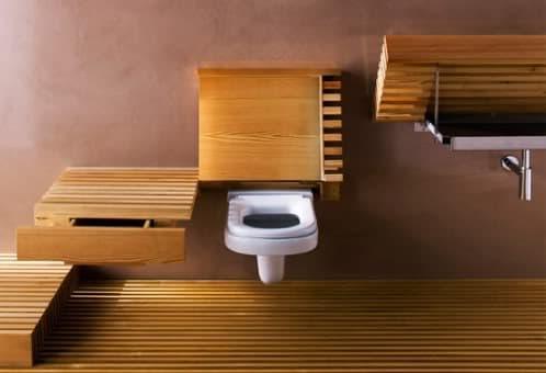 Cuarto de ba o con superficies superiores de madera for Tapa inodoro madera