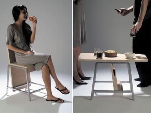 Silla xy se gira y se convierte en una mesa for Mueble que se convierte en mesa