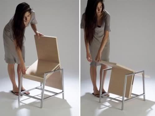 Silla xy se gira y se convierte en una mesa for Silla que se convierte en mesa