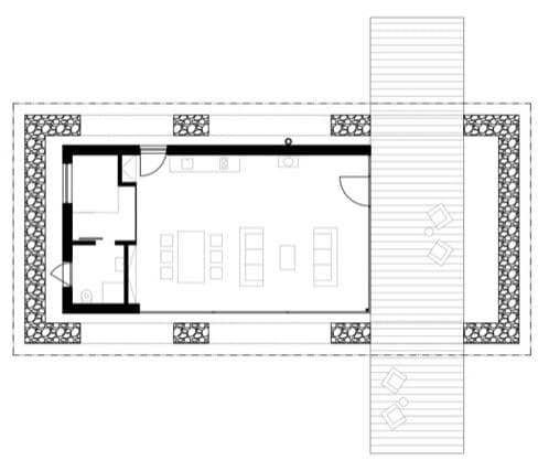 plano casa dentro de muros de piedra
