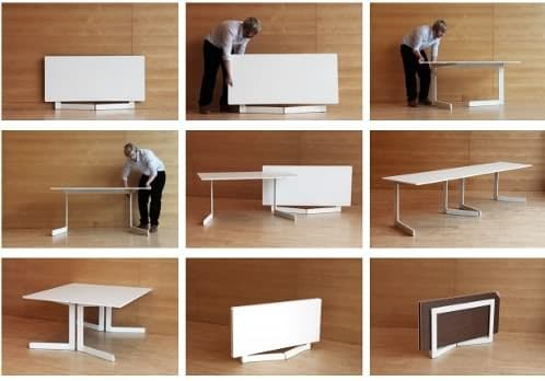 Ola mesa plegable con patas en forma de l for Diseno de mesas plegables