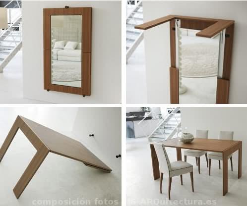Tip over espejo de pared que se convierte en mesa for Mueble que se convierte en mesa