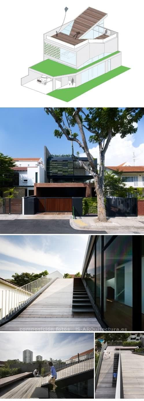 Vivienda moderna con muchos jardines y terrazas inclinadas for Casa moderna jardines