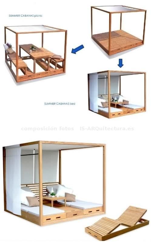 Summer cabana ligero cobertizo con muebles plegables para for Muebles jardin plegables