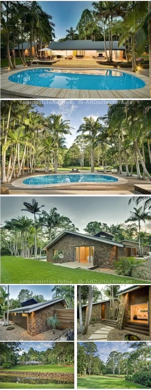 fotos exterior sencilla casa de lujo en jardines tropicales