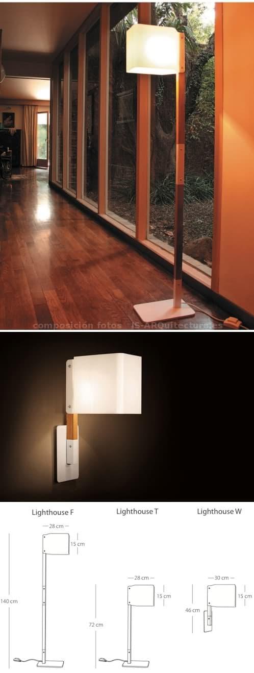 coleccion-lamparas-faro. Medidas de los tres formatos