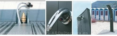 ducha-solar-aluminio, detalles.