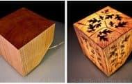 CUB: la lámpara es un cubo de madera
