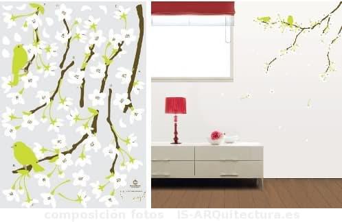 vinilos-decorativos-florales y pajaros