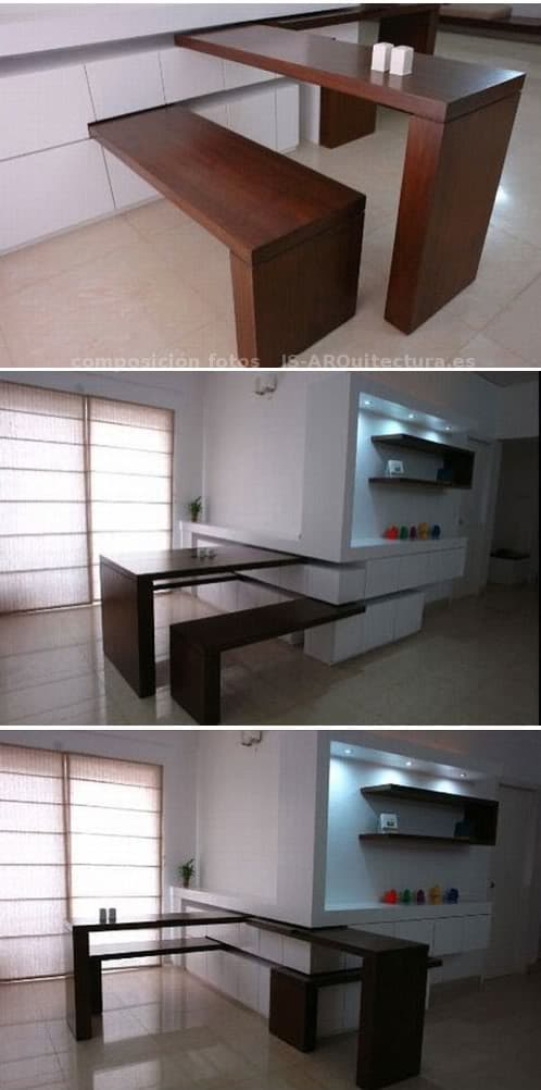 Tableros y bancos ocultos para la cocina - Muebles convertibles ...