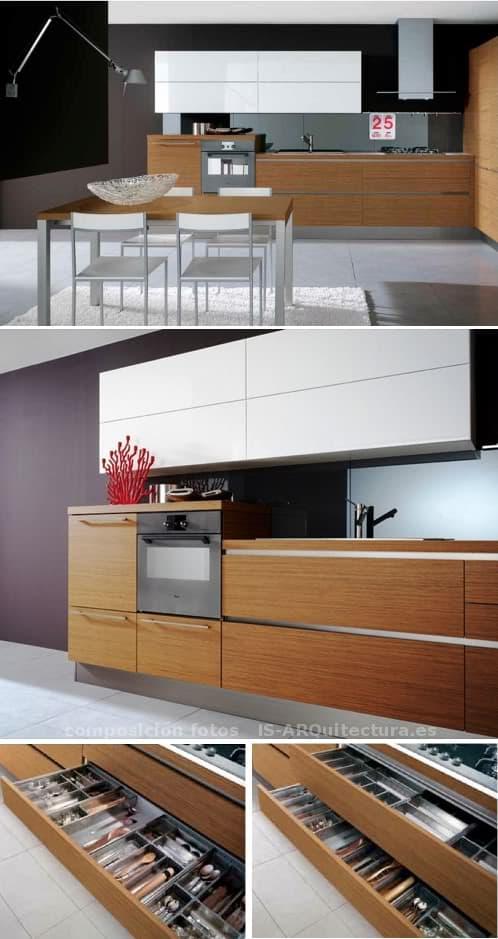 Muebles de cocina en madera y lacado brillo veneta for Utillaje cocina