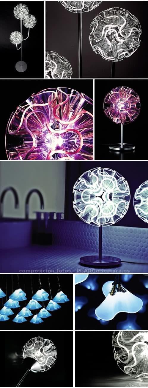 lamparas-led-coral-para colgar, de pie y de mesa