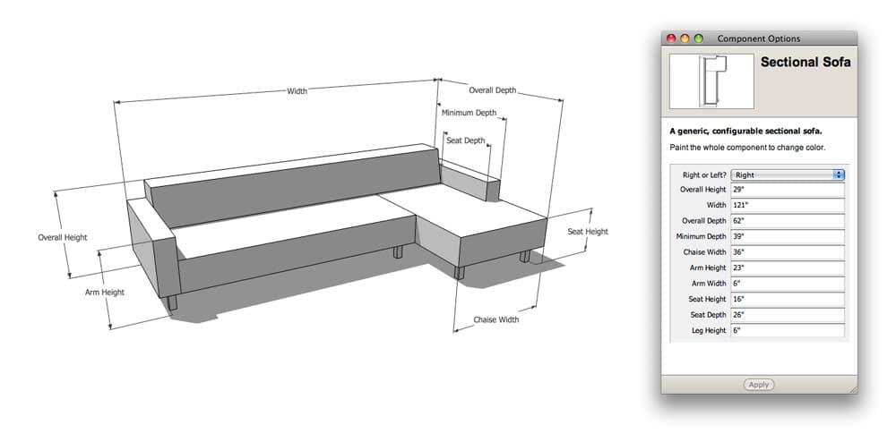 Modelos de sof s sketchup configurables for Sillon en l medidas