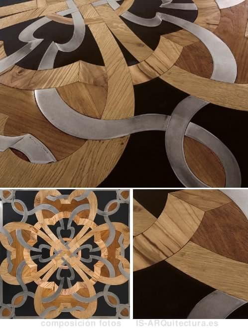 Suelo con mosaico artesanal de madera piedra y acero - Mosaico de madera ...