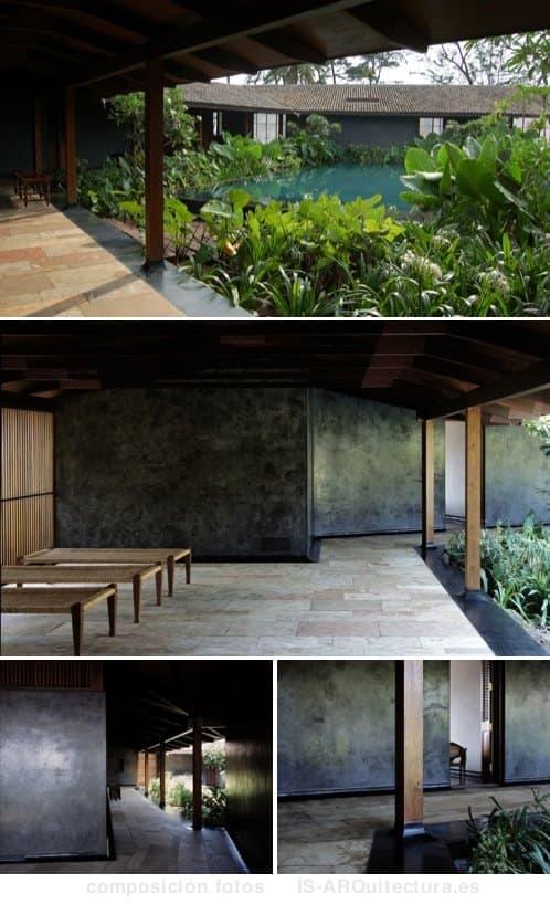 casa con patio y piscina subterránea