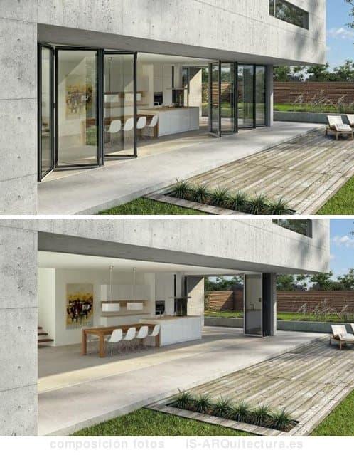 cierre-puertas-plegables-vidrio en fachada