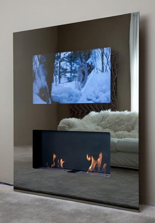 moderno mueble chimenea y tv