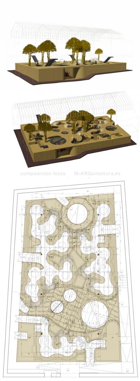 dibujos modernas-oficinas-pons_huot con gran estructura de madera maciza