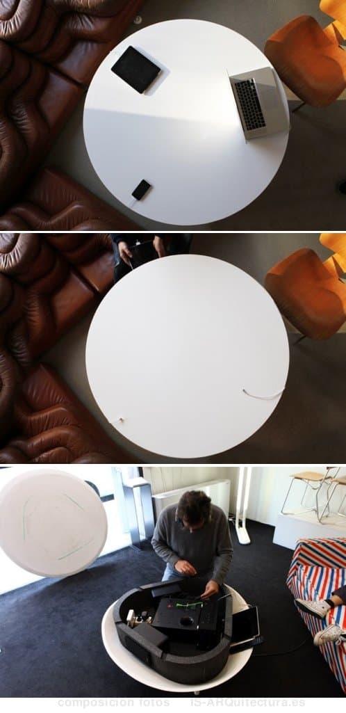 mesa-cafe-con sistema sonido teac