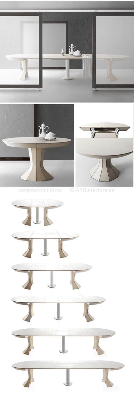 Opera mesa extensible de madera de fresno hasta 12 for Mesa comedor redonda extensible madera