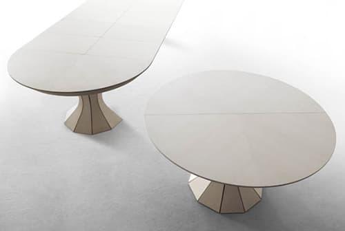 Opera mesa extensible de madera de fresno hasta 12 for Mesa redonda extensible