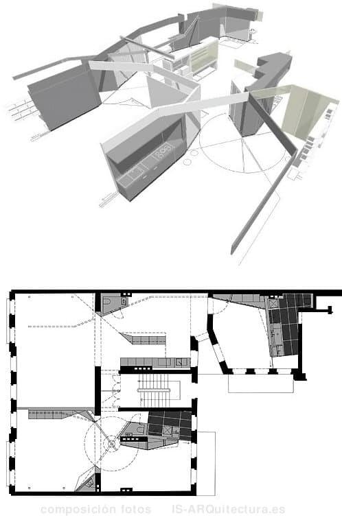 Modernos apartamentos con tabiques m viles en edificio de for Moviles modernos