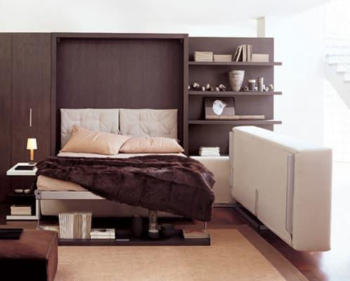 Atoll mueble cama abatible en librer a acompa ada de sof s - Cama escondida en mueble ...