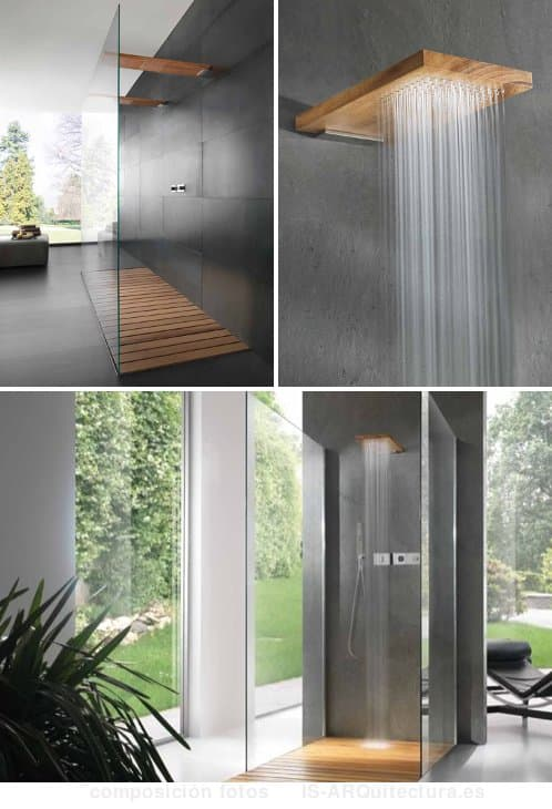 Terra marique duchas de madera maciza y panel de vidrio - Duchas de madera ...