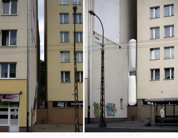 Ermitage-casa-estrecha-Varsovia, vista de la fachada y composición render