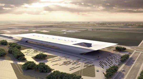 Estacion-terminal-AVE-Huelva-Rafael_de_la_Hoz, render con vista aérea