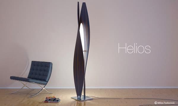 Extractor De Baño Helios:Lámpara de pie realizada con láminas de madera