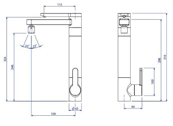 dimensiones-grifo-cocina-con-dispensador-agua-filtrada