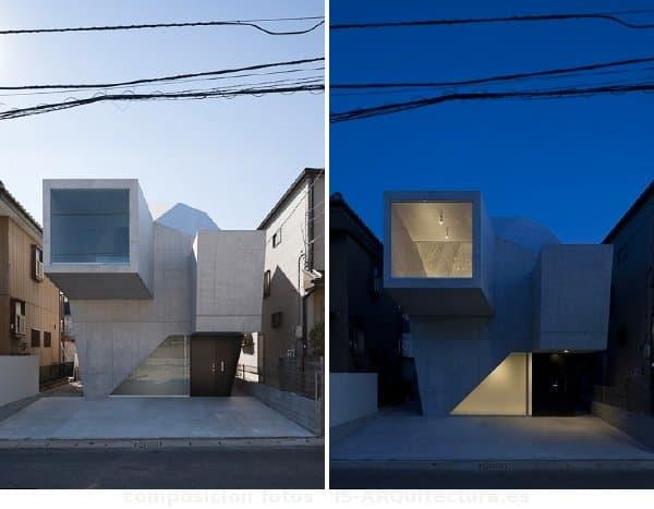 Moderna casa con estructura facetada de hormig n en abiko for Casa moderna hormigon