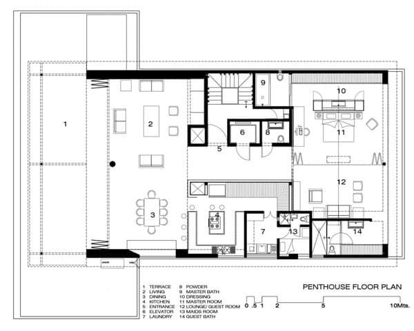 Moderno Apartamento En 225 Tico Con Aseo De Suelo De Vidrio