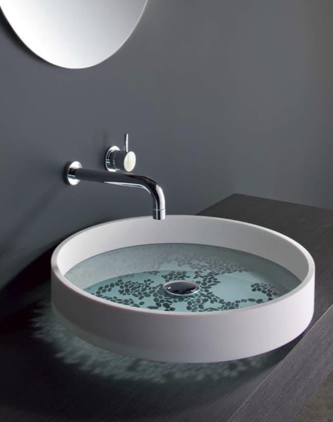 Lavabo motif con la base de vidrio tallado - Lavabo de vidrio ...